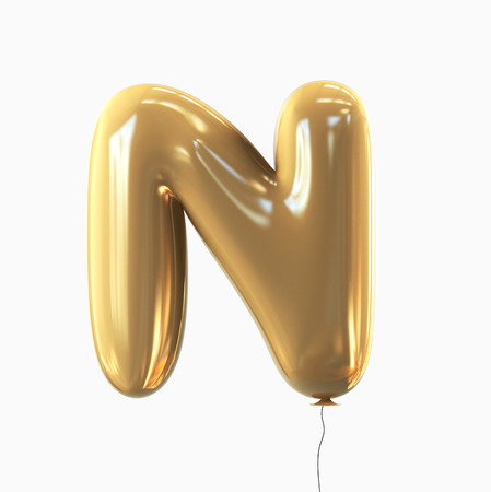 balloon background: Letter N. Balloon font isolated on White Background.