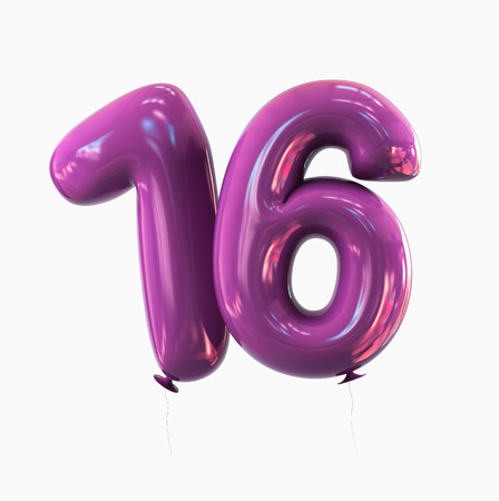 sweet sixteen: Sweet Sixteen - Number 16. balloon font. 3d rendering isolated on white background.