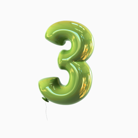 third birthday: number three - 3 balloon font. 3d rendering isolated on white background.