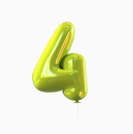 number Four - 4 balloon font. 3d rendering isolated on white background. Stock Photo