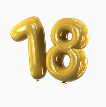 happy birthday 18: Eighteen. Number 18, Balloon Font isolated on white background. 3d rendering