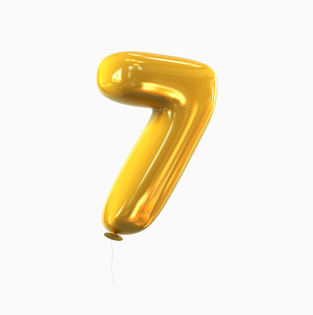 number Seven - 7 balloon font. 3d rendering isolated on white background.