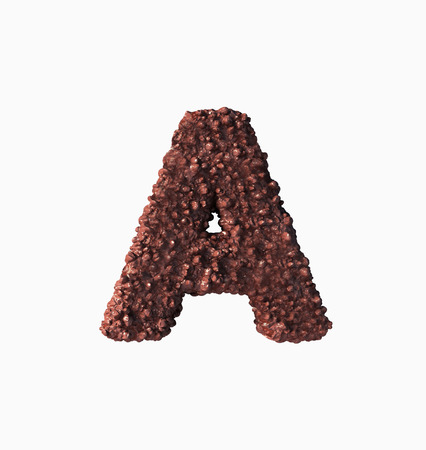 Choco Font Concept. Delicious Crispy A Letter. 3d rendering isolated