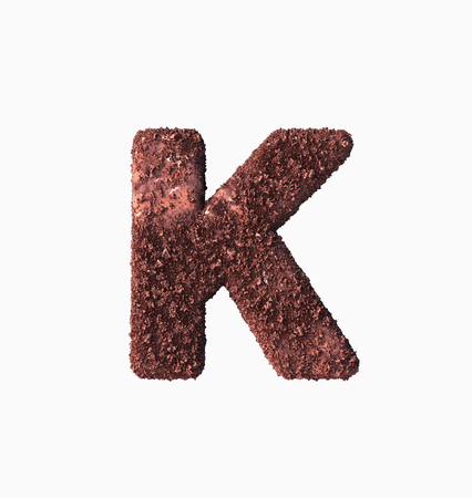 Choco Font Concept. Delicious Crispy K Letter. 3d rendering isolated