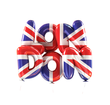 London Symbol made of Balloons with the Colors of Flag of United Kingdom. 3d rendering isolated on White Background Stock Photo