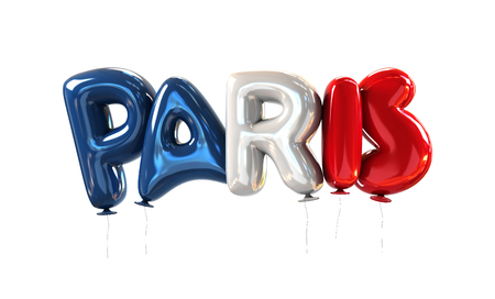 Paris Symbol made of Balloons with the Colors of National Flag of France. 3d rendering isolated on White Background