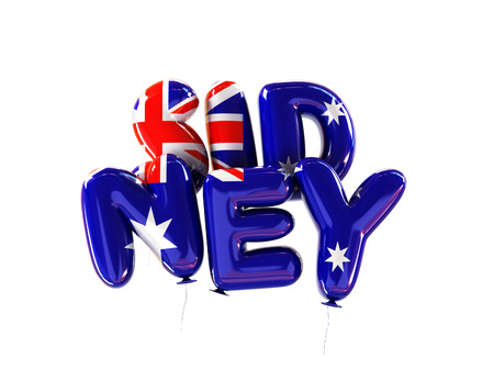 Sidney Symbol Made Of Balloons with Flag Colors of Australia. 3d Rendering isolated on White Background.