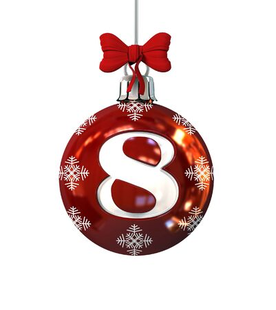 alphabet tree: Red Christmas Ball Font Concept. Number 8. 3d Rendering Isolated on White Background