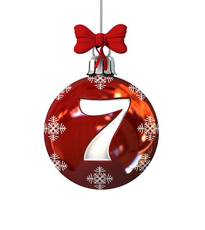 alphabet tree: Red Christmas Ball Font Concept. Number 7. 3d Rendering Isolated on White Background