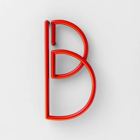 style template: 3d realistic RED Wire Font with soft shadows. Letter B. 3d rendering isolated on bright background.