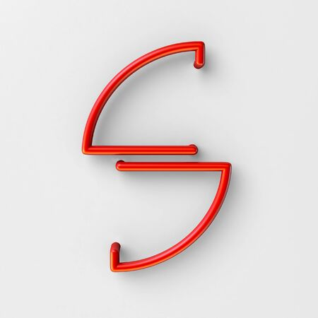3d realistic RED Wire Font with soft shadows. Letter S. 3d rendering isolated on bright background.