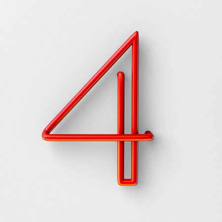 3d realistic RED Wire Font with soft shadows. Number 4, Four. 3d rendering isolated on bright background.