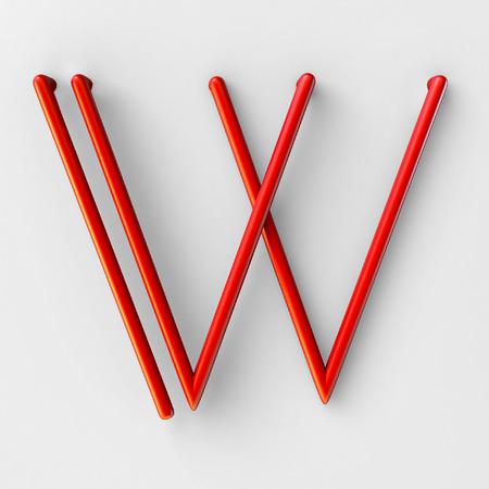 3d realistic RED Wire Font with soft shadows. Letter W. 3d rendering isolated on bright background. Stock Photo