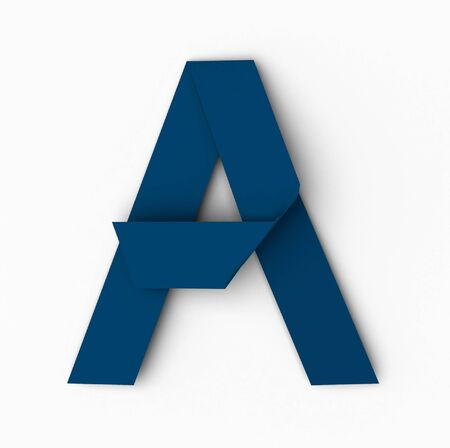 japanese paper art: Origami Blue Paper Font. Letter A isolated on white background, with soft shadows. 3d rendering Stock Photo