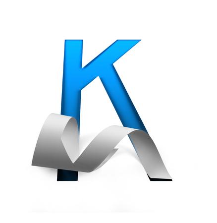 Curl Paper Font on cut out background. letter K. 3d rendering