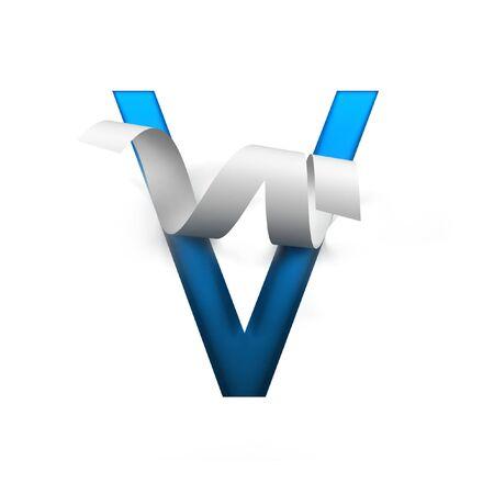 Curl Paper Font on cut out background. letter V. 3d rendering