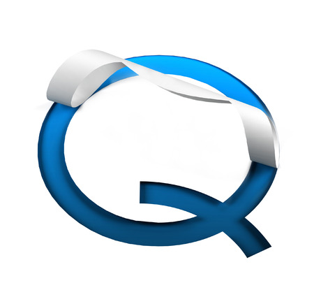 Curl Paper Font on cut out background. letter Q. 3d rendering Stock Photo