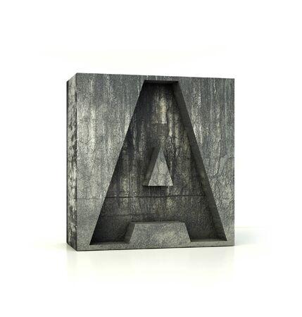 Concrete Font Box Letter H Alphabet Concept 3d Rendering