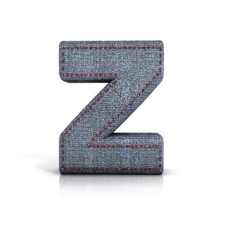 z fold: Letter Z, Denim - jeans Font. 3d illustration isolated on white.