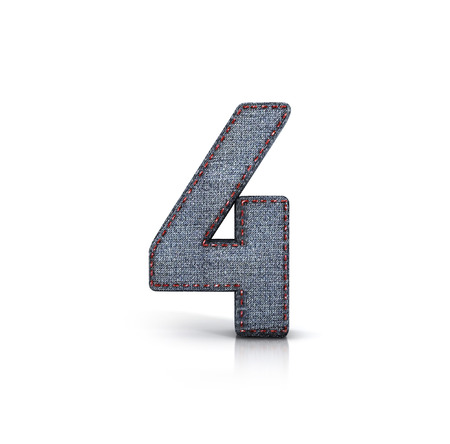 thread count: Number 4, Denim - Jeans Font. 3d illustration isolated on white.