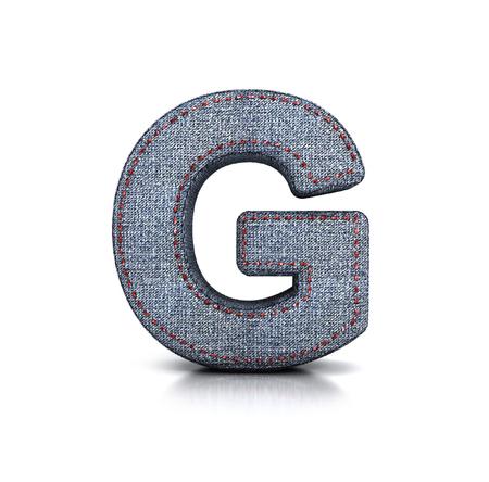 g string: Letter G, Denim - jeans Font. 3d illustration isolated on white. Stock Photo