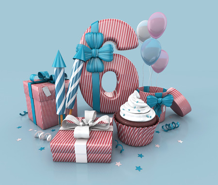 sixth: Number Six, 6, Decorated With Ribbon, Birthday Cupcake, Rockets, and Wrap Gifts. Birthday Concept Invitation. 3d render Illustration Isolated On Blue Background