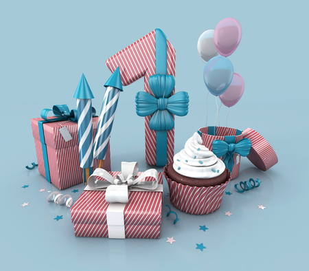 Number One, 1, Decorated With Ribbon, Birthday Cupcake, Rockets, and Wrap Gifts. Birthday Concept Invitation. 3d render Illustration Isolated On Blue Background