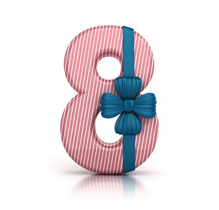Numero 8, decorato con Nastro isolato su sfondo bianco. Font Giftbox. 3d rendering illustrazione isolato