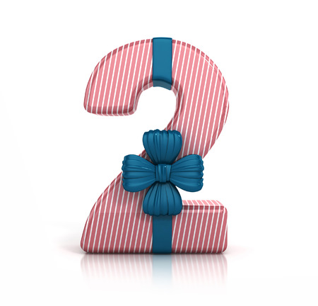 Number 2 decorated with Ribbon isolated on white background. Giftbox Font. 3d render illustration isolated