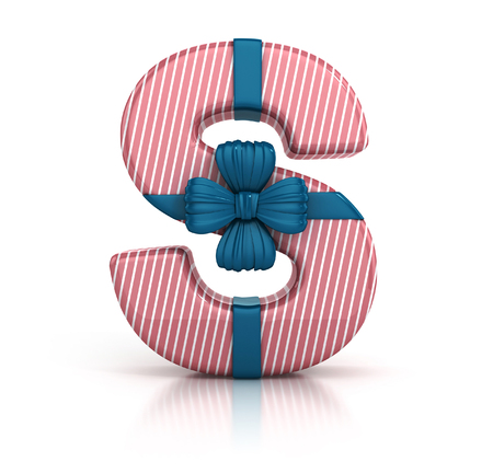 Colorful Letter S decorated with Ribbon isolated on white background. giftbox font. 3d render illustration Stock Photo