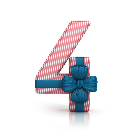 Number 4, decorated with Ribbon isolated on white background. Giftbox Font. 3d render illustration isolated