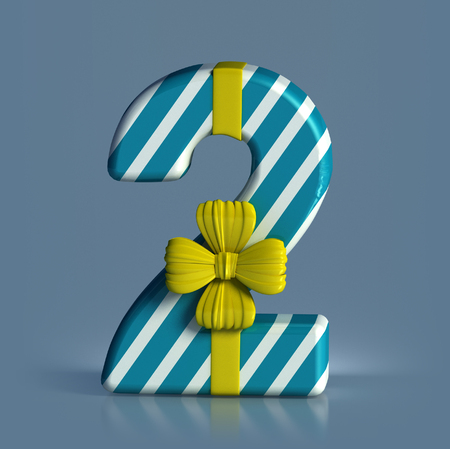 Number 2, decorated with Ribbon isolated on white background. Birthday Concept. 3d render illustration isolated Stock Photo