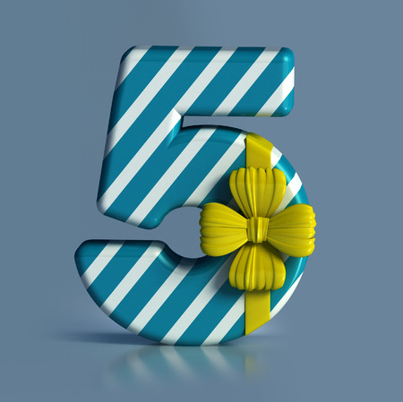 counting five: Number 5, decorated with Ribbon isolated on white background. Birthday Concept. 3d render illustration isolated Stock Photo