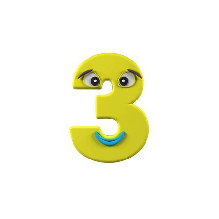 third birthday: Funny Kids Font. Number 3 isolated on white background. 3d rendering