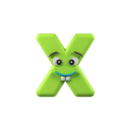 x games: Funny Kids Font. Letter X isolated on white background. 3d rendering