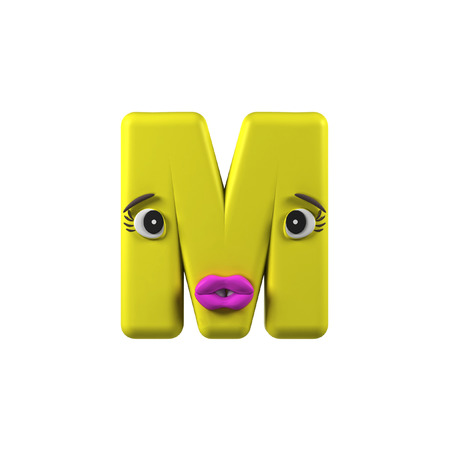 Funny Kids Font. Letter M isolated on white background. 3d rendering