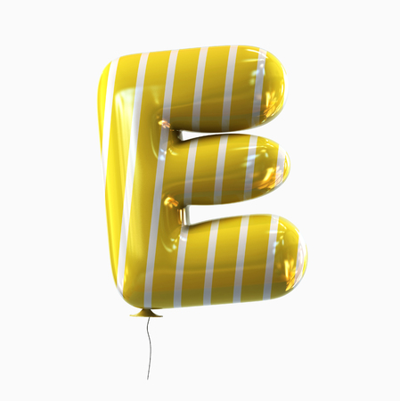 Letter E. Colorful Balloon font isolated on White Background. 3D rendering Stock Photo