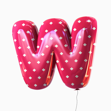 Letter W. Colorful Balloon font isolated on White Background. 3D rendering Stock Photo