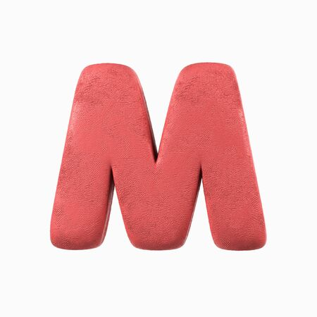 Plasticine Clay Font. M letter. 3d rendering isolated on white background