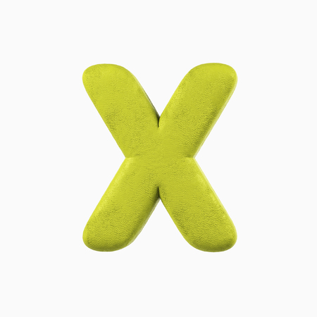 Plasticine Clay Font. X letter. 3d rendering isolated on white background