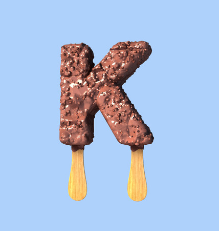 K Letter, Chocolate Ice Cream Font Concept. 3d Rendering isolated