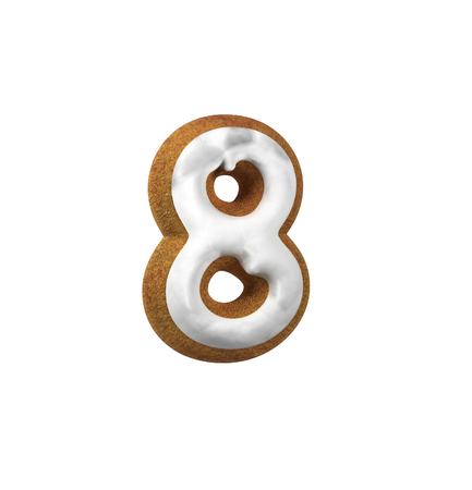 Number Eight, 8. Gingerbread font. Christmas cookie alphabet concept. 3d rendering isolated on White Background