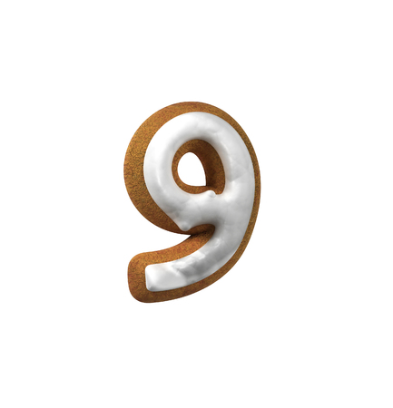 homemade bread: Number 9, Nine. Gingerbread font. Christmas cookie alphabet concept. 3d rendering isolated on White Background