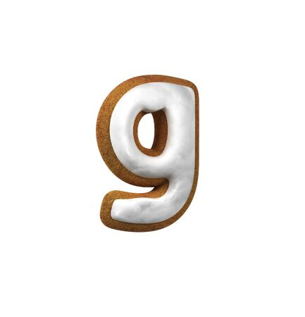 homemade bread: Small Letter G. Gingerbread font. Christmas cookie alphabet concept. 3d rendering isolated on White Background
