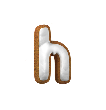 christmas cookie: Small Letter H. Gingerbread font. Christmas cookie alphabet concept. 3d rendering isolated on White Background Stock Photo