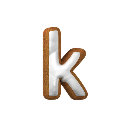 Small Letter K. Gingerbread font. Christmas cookie alphabet concept. 3d rendering isolated on White Background
