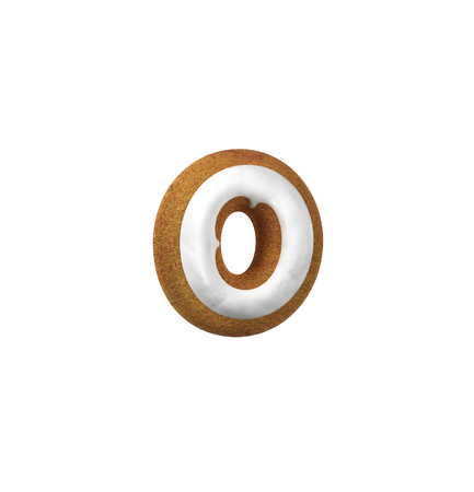 homemade bread: Small Letter O. Gingerbread font. Christmas cookie alphabet concept. 3d rendering isolated on White Background Stock Photo