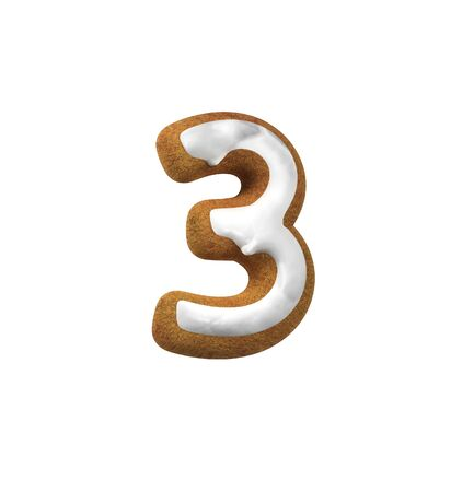 third birthday: Number Three, 3. Gingerbread font. Christmas cookie alphabet concept. 3d rendering isolated on White Background Stock Photo