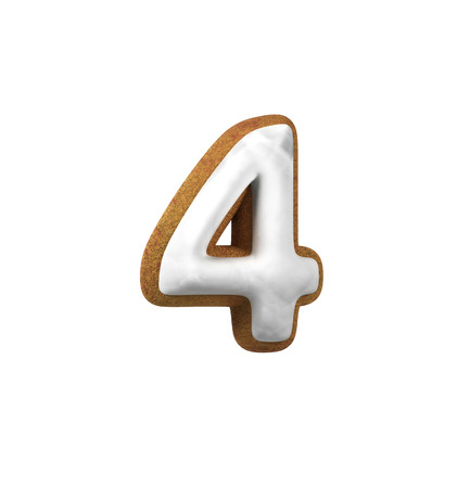 Number 4, Four. Gingerbread font. Christmas cookie alphabet concept. 3d rendering isolated on White Background