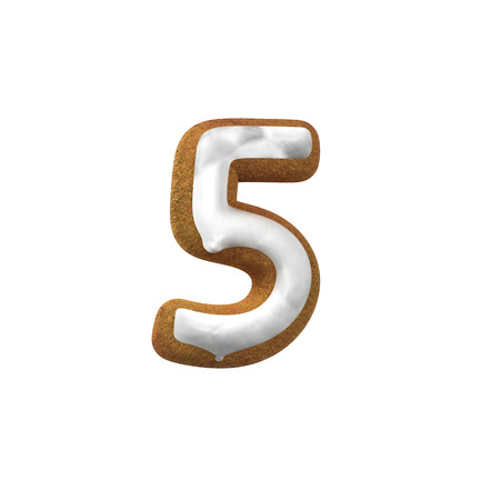 christmas cookie: Number 5, Five. Gingerbread font. Christmas cookie alphabet concept. 3d rendering isolated on White Background